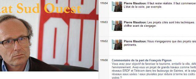 Pierre Maudoux a participé mardi 11 mars 2014 à un chat organisé sur le site de Sud Ouest à l'occasion de la campagne des municipales. Deux liens pour revivre le […]